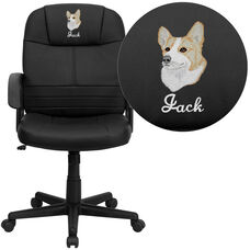 Embroidered Mid-Back Black Leather Executive Swivel Chair with Arms