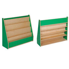 Green Apple Book Display Stand with Five Sloping Hardboard Shelves on Front and Four Shelves on Rear - Assembled - 34