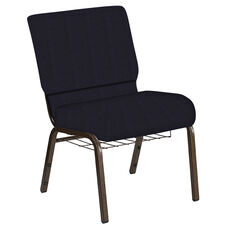 Embroidered 21''W Church Chair in Mainframe Blazer Fabric with Book Rack - Gold Vein Frame