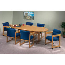 Contemporary Series Wood Conference Oval Table with Trestle Base