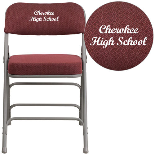 Our Embroidered HERCULES Series Premium Curved Triple Braced & Double Hinged Burgundy Fabric Metal Folding Chair is on sale now.