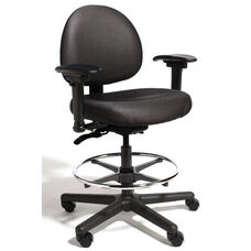 Triton Medium Back Mid-Height Drafting Cleanroom Chair with 350 lb. Capacity - 4 Way Control