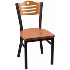 Eagle Series Wood Back Armless Chair with Steel Frame and Wood Seat - Natural