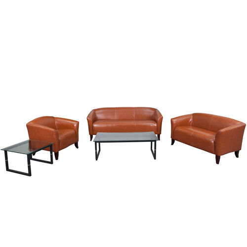 """Our HERCULES Imperial Series Reception Set in Cognac LeatherSoft with <span style=""""color:#0000CD;"""">Free </span> Tables is on sale now."""