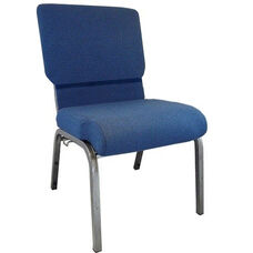 Advantage Navy Church Chair with Book Rack 20.5 in. Wide
