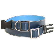 Collar for Large to Extra Large Dogs - Genuine Leather - Dark Blue and Ocean Blue