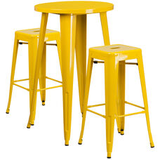 """Commercial Grade 24"""" Round Yellow Metal Indoor-Outdoor Bar Table Set with 2 Square Seat Backless Stools"""