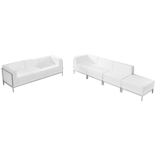 Our HERCULES Imagination Series Melrose White Leather Sofa & Lounge Chair Set, 5 Pieces is on sale now.