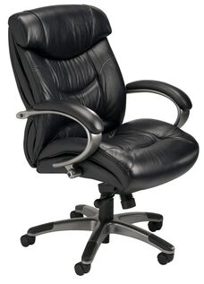 Ultimo 200 Series Mid Back Task Chair - Black Leather with Gunmetal Gray Frame