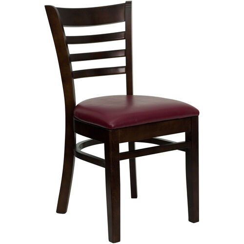 Our Walnut Finished Ladder Back Wooden Restaurant Chair with Burgundy Vinyl Seat is on sale now.