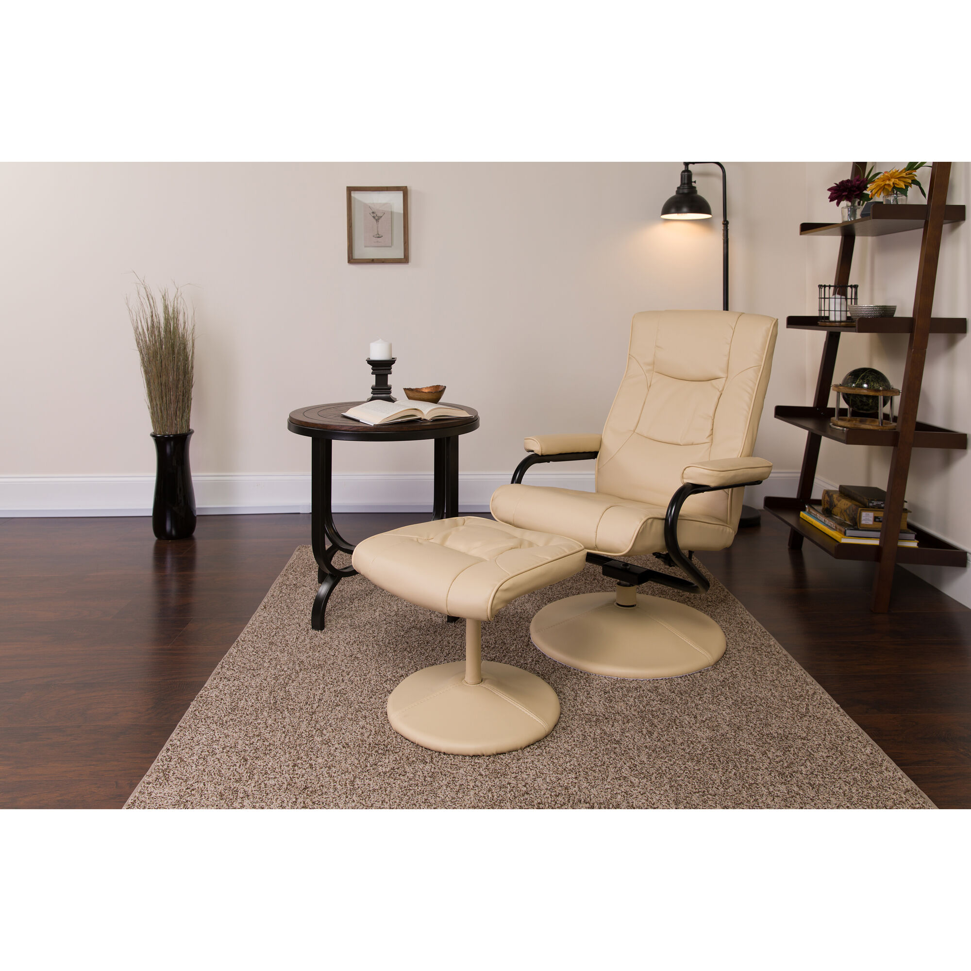 Surprising Contemporary Multi Position Recliner And Ottoman With Wrapped Base In Cream Leather Dailytribune Chair Design For Home Dailytribuneorg