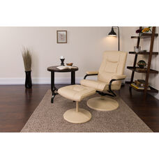 Contemporary Multi-Position Recliner and Ottoman with Wrapped Base in Cream LeatherSoft