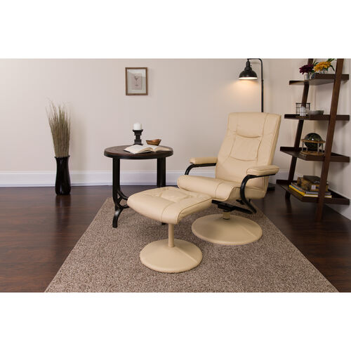 Our Contemporary Multi-Position Recliner and Ottoman with Wrapped Base in Cream LeatherSoft is on sale now.