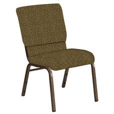 Embroidered 18.5''W Church Chair in Jasmine Khaki Fabric - Gold Vein Frame