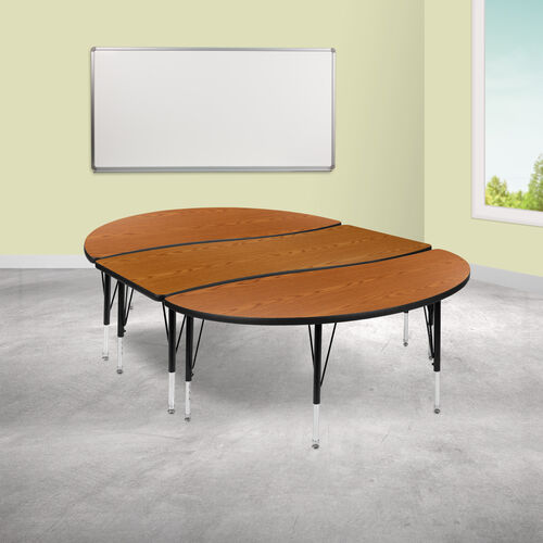 """3 Piece 86"""" Oval Wave Collaborative Oak Thermal Laminate Activity Table Set - Height Adjustable Short Legs"""