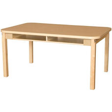 Two Seater High Pressure Laminate Desk with Hardwood Legs - 48