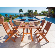 Malibu 5 Piece Outdoor Wood Dining Set with Curvy Leg Table and 4 Folding Chairs