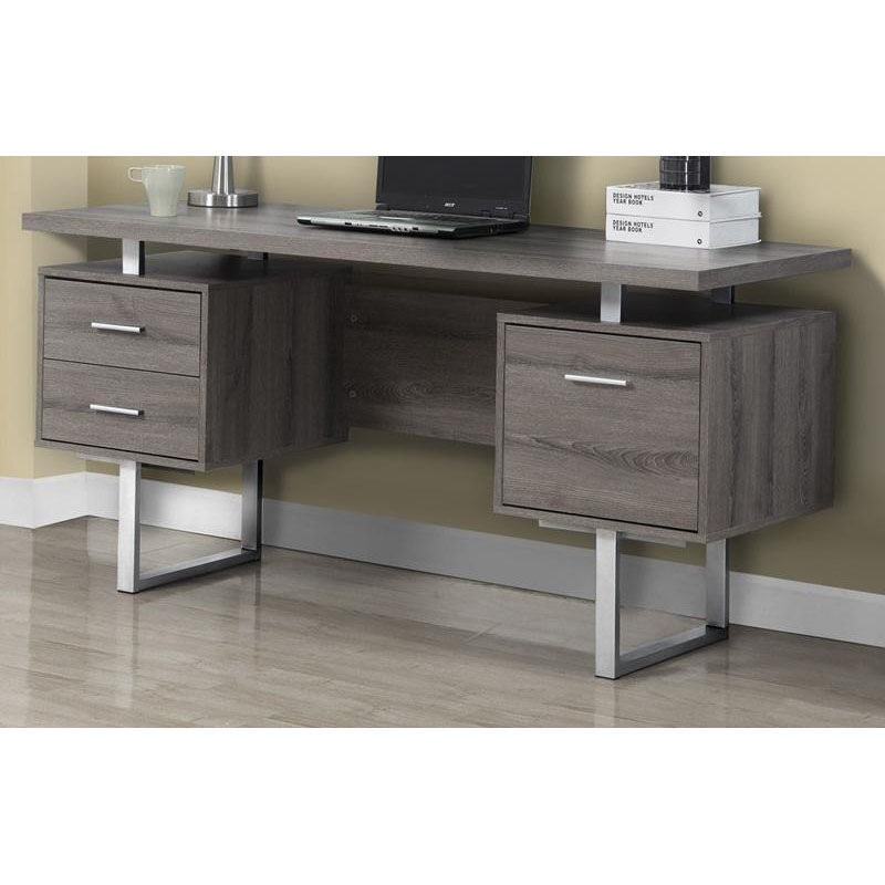 ... Our Floating Top 60u0027u0027W Home Office Desk With Silver Metal Accents   Dark