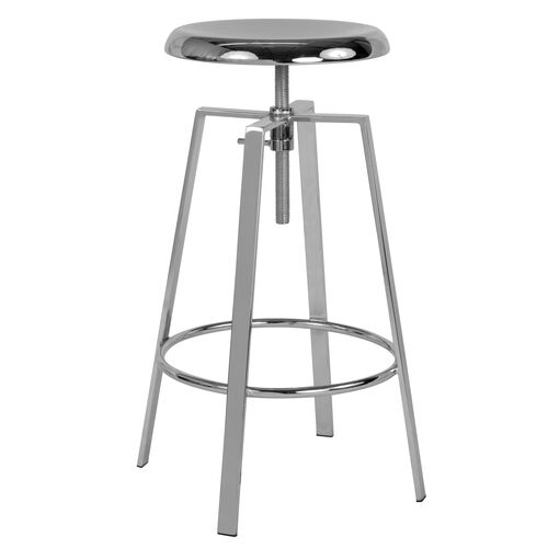 Our Toledo Industrial Style Barstool with Swivel Lift Adjustable Height Seat in Chrome Finish is on sale now.