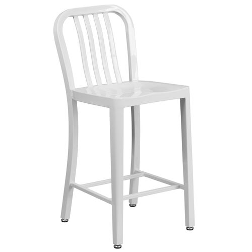 """Our Commercial Grade 24"""" High White Metal Indoor-Outdoor Counter Height Stool with Vertical Slat Back is on sale now."""