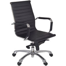 Solace Height Adjustable Swivel Chair with Casters - Black Leather