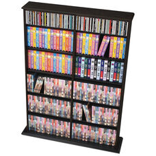 Double Width Wall Storage with 10 Adjustable Shelves - Black