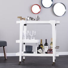 Zhori Midcentury Modern Bar Cart - White