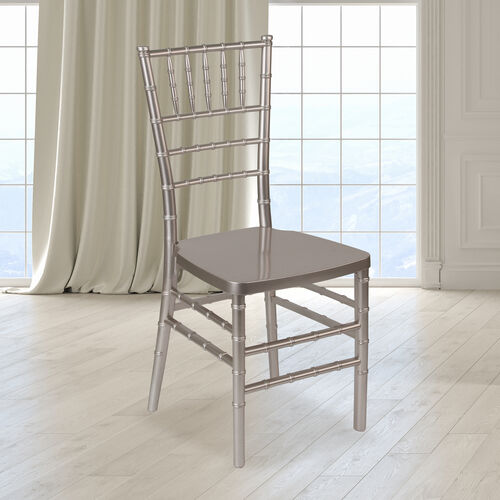 """Our HERCULES PREMIUM Series Pewter Resin Stacking Chiavari Chair with <span style=""""color:#0000CD;"""">Free </span> Cushion is on sale now."""