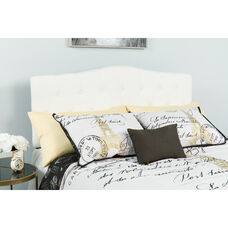 Cambridge Tufted Upholstered Queen Size Headboard in White Fabric
