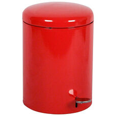 Small Hands-Free Step-On Receptacle with Galvanized Liner - Red