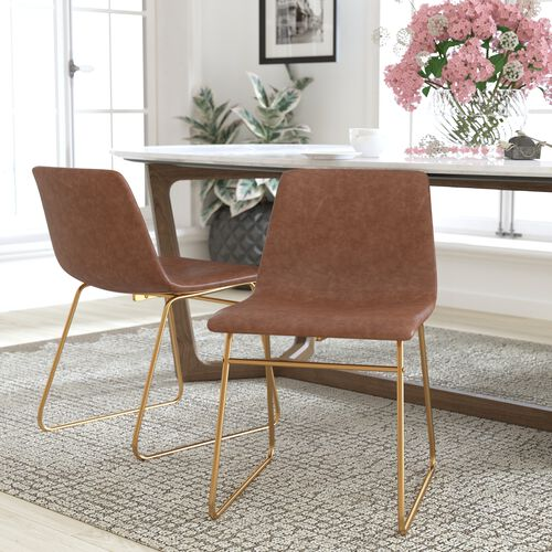 18 inch LeatherSoft Dining Chair in Light Brown, Set of 2
