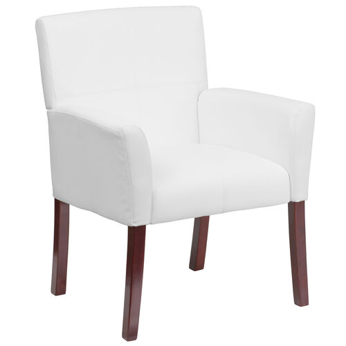 Our White LeatherSoft Executive Side Reception Chair with Mahogany Legs is on sale now.