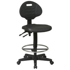Work Smart Intermediate Ergonomic Drafting Chair with Adjustable Footrest and Seat Tilt - Black