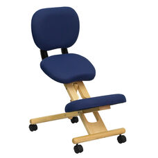 Mobile Wooden Ergonomic Kneeling Posture Office Chair with Reclining Back in Navy Blue Fabric