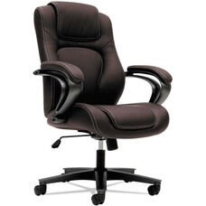 Basyx® VL402 Series Executive High-Back Chair with Padded Arms and Black Frame - Brown Vinyl