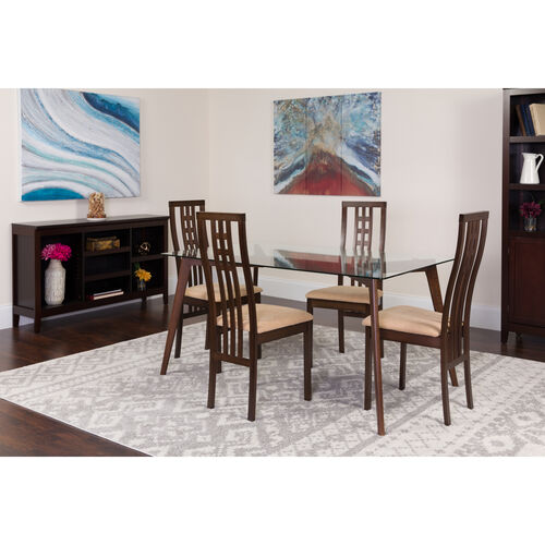 """Our Clearview 5 Piece 35.25"""" x 59"""" Rectangular Glass/Espresso Wood Table Set with High Triple Window Pane Back Wood Dining Chairs - Padded Seats is on sale now."""