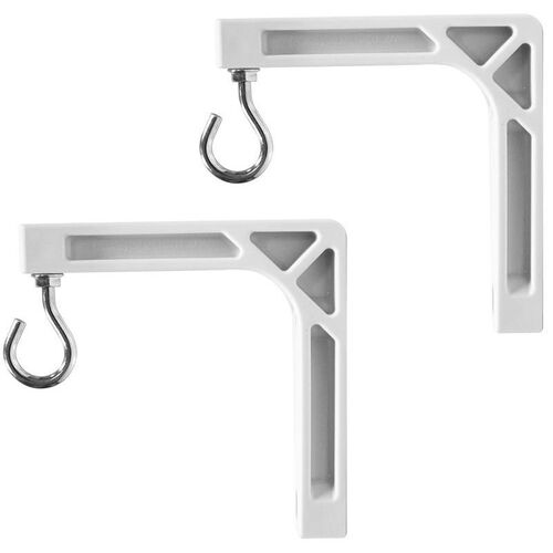 Our White Universal Wall Bracket for Manual Wall Screens with Two Hooks and Bolts/Washers - 3