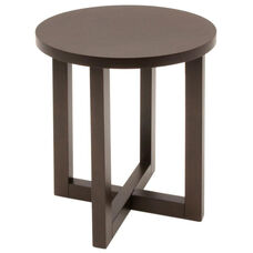 21'' Round Wooden End Table with X Base - Mocha Walnut