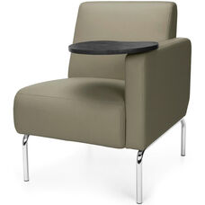 Triumph Left Arm Modular Lounge Chair with Tablet Vinyl Seat and Chrome Feet - Taupe Seat with Tungsten Finish Tablet