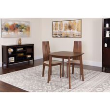 Newport 3 Piece Walnut Wood Dining Table Set with Padded Wood Dining Chairs