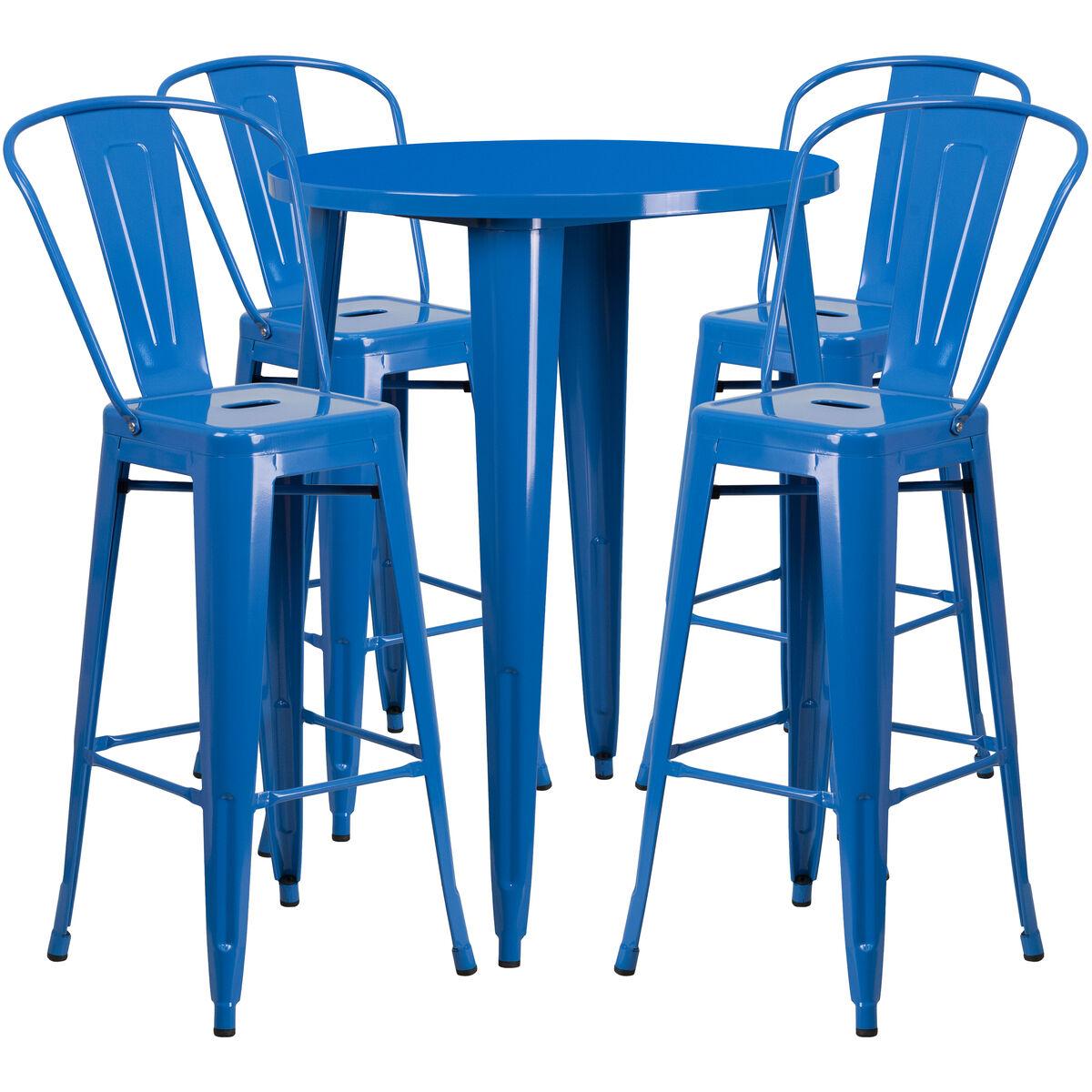Flash Furniture 30 Round Blue Metal Indoor Outdoor Bar