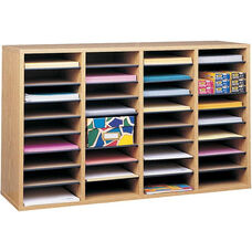 Adjustable Wooden Literature Organizer with Thirty-Six Compartment - Medium Oak