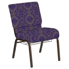 Embroidered 21''W Church Chair in Watercolor Jazz Fabric with Book Rack - Gold Vein Frame