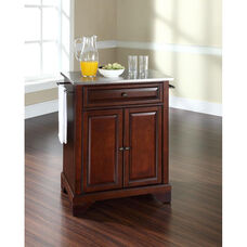 Stainless Steel Top Portable Kitchen Island with Lafayette Feet - Vintage Mahogany Finish