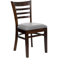 Walnut Finished Ladder Back Wooden Restaurant Chair with Custom Upholstered Seat