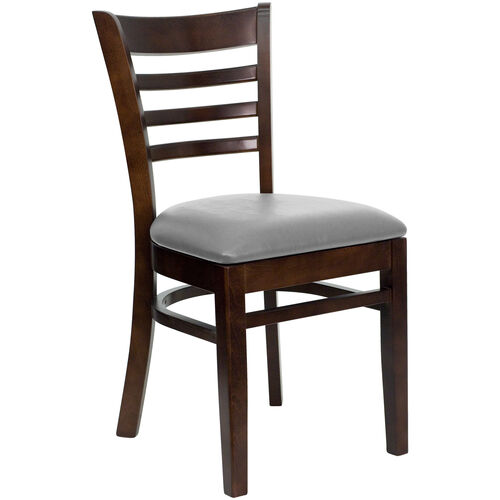 Our Walnut Finished Ladder Back Wooden Restaurant Chair with Custom Upholstered Seat is on sale now.