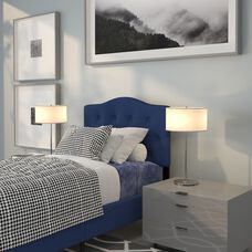 Cambridge Tufted Upholstered Twin Size Headboard in Navy Fabric