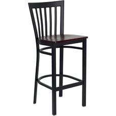 Black School House Back Metal Restaurant Barstool with Mahogany Wood Seat