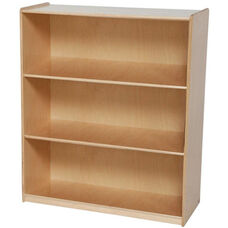 Extra Deep 3 Shelf Wooden Bookcase with Plywood Back - 36