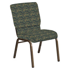 Embroidered 18.5''W Church Chair in Perplex Clover Fabric - Gold Vein Frame